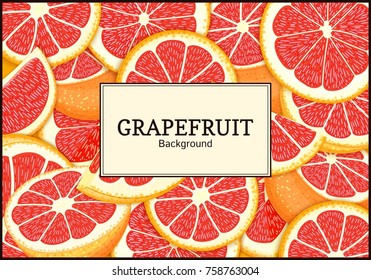 Rectangular label on citrus grapefruit background. Vector card illustration. Tropical juicy red pomelo frame peeled piece of half slice for design of food packaging juice breakfast, tea diet juce