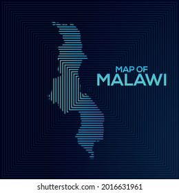 Rectangular Map of Malawi. Malawi vector map illustration with an abstract style. The blue colour elegant look of map Malawi