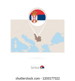Rectangular map of Serbia with pin icon of Serbia