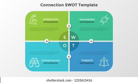 Rectangular matrix consisted of 4 colorful elements or cards connected by arrows. Creative infographic design template. Vector illustration for SWOT analysis of company and strategic planning.