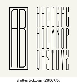 Rectangular Monogram Art Nouveau and a set of templates of letters, nice stylish font.