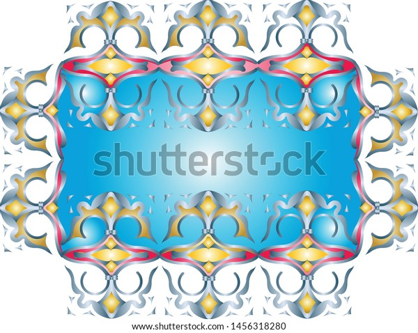 Rectangular ornament composed of smaller objects, partially doubled with blue center and yellow fillings.
