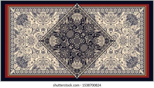Rectangular ornamental vector design for rug, carpet, tapis, shawl. Persian rug, towel, textile. Geometric lace floral backdrop. Arabian ornament with decorative elements. Vector template