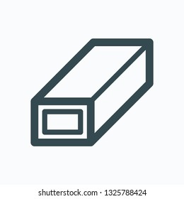 Rectangular pipe linear icon, rectangular rolled steel tube vector icon