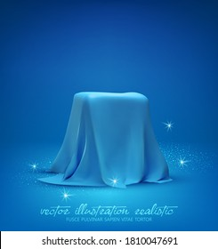 Rectangular Podium, box covered with blue silk isolated on light blue background. Gift hidden under a draped satin fabric or a podium for advertising cosmetics, jewelry. Realistic vector illustration.