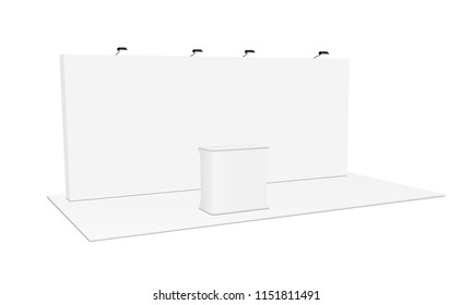 Rectangular pop up display system & podium. Blank trade show booth equipment. Vector illustration