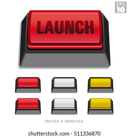 Rectangular Push Button With Launch Command, Pressed And Unpressed