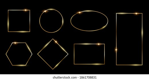 Rectangular and round golden photo or picture frames in different proportions and sizes isolated on black background. Vector luxury borders set. Square, rectangle, oval, rhombus, hexagon and circle.
