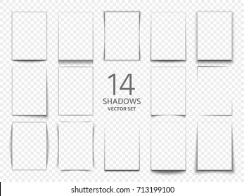 Rectangular shadow box frames from paper sheets. 3d transparent shadows effect. Shadow transparent effect. Vector illustration