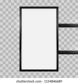 Rectangular signage light box signboard. Vector vertical rectangle lightbox sign box mockup for logo template. Black metal cafe, restaurant outdoor mock up on transparent background