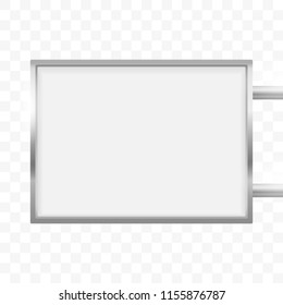 Rectangular signage light box signboard. Vector rectangle lightbox sign box mockup for logo template. Cafe, restaurant outdoor mock up on transparent background