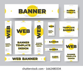 Rectangular, square, horizontal and vertical vector web banners with yellow circles on a white background. Design with abstract geometric pattern. Set of standard size templates for social media ads