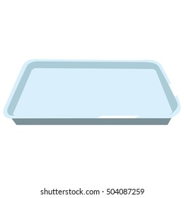 Rectangular stainless baking tray with empty space for baking meat, fish, cake, pie or other food. Isolated on white background.