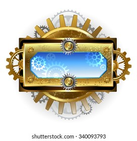 Rectangular steampunk banner with gold gears and blue glass on white background.