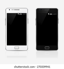 rectangular stylish mobile phone isolated, realistic vector illustration.