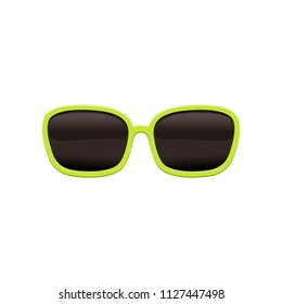 72b97081282c Rectangular sunglasses with black lenses and green frame. Protective  eyewear from bright sunlight. Flat