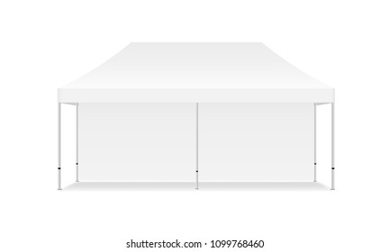 Rectangular tent mock up with one wall - front view. Vector illustration