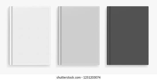 Rectangular vector blank black, white and gray realistic book cover mockup, closed organizer or notebook cover template with sheet of A4. Front view of elegant notepad with binding mock up