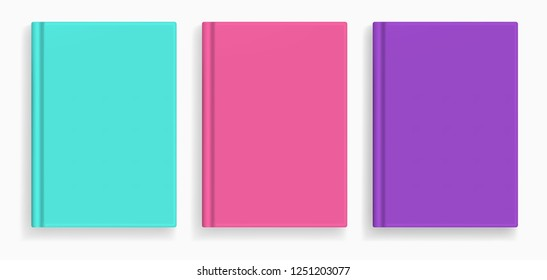 Rectangular vector blank colored realistic book cover mockups set, closed organizer or notebook cover template with sheet of A4. Front view of emerald, pink and violet notepad with binding mock up