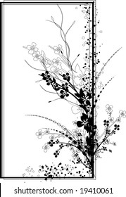 A rectangular vertical frame vector illustration with intricate flowers