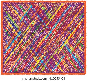 Rectangular weave rug with colorful diagonal grunge striped checkered pattern and fringe