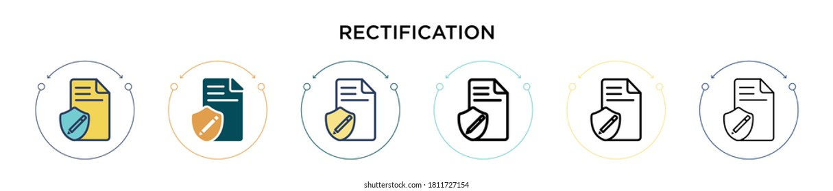 Rectification icon in filled, thin line, outline and stroke style. Vector illustration of two colored and black rectification vector icons designs can be used for mobile, ui, web