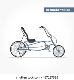 Recumbent bicycle, bike flat icon. Vector modern illustration and design element on white background.
