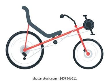 Recumbent bike flat vector illustration. Laid-back bike. Equipment for outdoor activity. Road bike, cycling sport, workout. Environmentally friendly vehicle isolated design element
