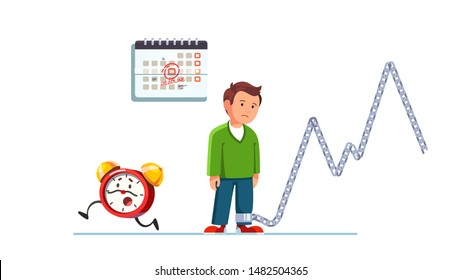 Recurrent work pressure peaks, overwork stress and frustration concept. Sad office worker standing exhausted chained by constant urgency and deadlines. Flat vector character illustration