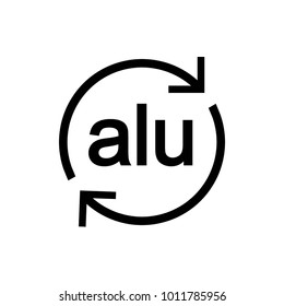 Recyclable aluminium. Sign. Vector.