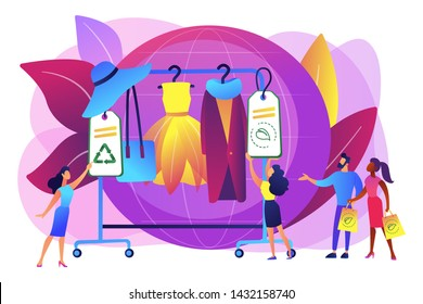 Recyclable and eco textile. Sustainable fashion, sustainable manufacturing brand, green technologies in fashion, ethical clothing production concept. Bright vibrant violet vector isolated illustration