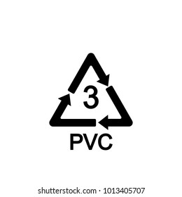 Recyclable plastic.  Polyvinyl chloride. Vector illustration. Sign.