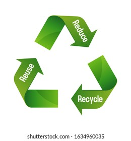 Recycle 3 arrows vector illustration ( ecology, 3R / recycle, reuse, reduce)