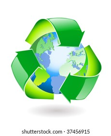 Recycle around the world icon
