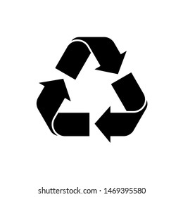 Recycle arrow icon vector. Black recycling eco symbol. vector icon of recycle on isolated background. Simple recycle logo for web. Cycle recycle icon.vector eps10