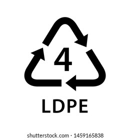recycle arrow triangle LDPE types 4 isolated on white background, symbology four type logo of plastic LDPE materials, recycle triangle types icon graphic, recycle plastic ecology icon