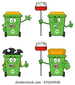 Recycle Bin Cartoon Character 1. Vector Collection Set Isolated On White Background
