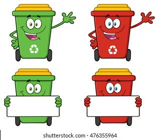 Recycle Bin Cartoon Character 5. Vector Collection Set Isolated On White Background