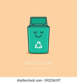 Recycle bin cartoon cute character in kawaii linework style