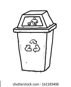 recycle bin / cartoon vector and illustration, hand drawn, sketch style, isolated on white background.