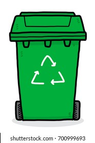 recycle bin / cartoon vector and illustration, hand drawn style, isolated on white background.