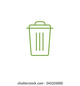 Recycle bin ecology and environment vector icon and infographic green on white background