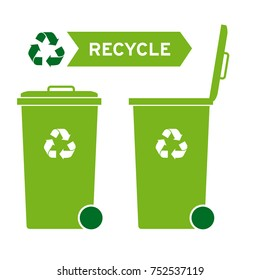 Recycle bin green container vector