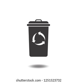 Recycle bin icon vector or trash can with reuse or reduce arrow flat sign symbols logo illustration isolated on white background black color.Concepts objects for waste, pollution and save world.
