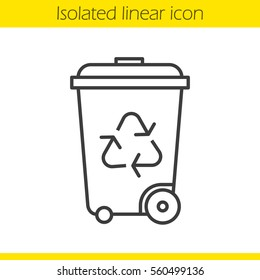 Recycle bin linear icon. Wastebasket thin line illustration. Dustbin on wheels contour symbol. Vector isolated outline drawing