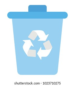 Recycle bin with recycling symbol, flat vector icon