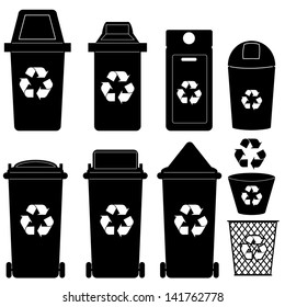 recycle bin  silhouette vector