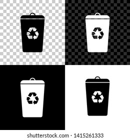 Recycle bin with recycle symbol icon isolated on black, white and transparent background. Trash can icon. Garbage bin sign. Recycle basket sign. Vector Illustration