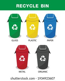 Recycle bin vector illustrations. Glass, Plastic, organic, paper and metal, recycling sorts categories, vector design.