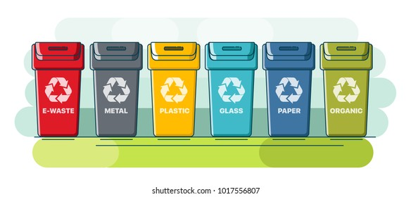 Recycle bins. Colorful recycle plastic bins. Collection of colorful separation recycle bins. Containers for sorting waste. Different colored recycle waste bins. Waste types segregation recycling